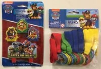 PAW PATROL Birthday Candle Set of 4 / Award Medals Set of 12 Party Favors - NEW