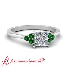 Half Carat Princess Cut Diamond And Emerald Gemstone Seven Stone Engagement Ring