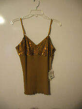 Worth Wear Women's Dressy Top with Sequins Copper Color Size P NWT