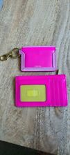 2 x Fossil Hot Pink Card Case NEW Gift Lee Logan Leather Wallet Key Zip Tags