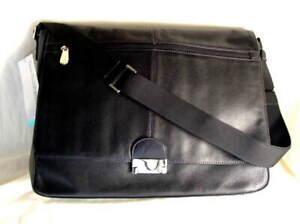 PERRY ELLIS PORTFOLIO Black Leather Briefcase Messenger Bag NEW NWT