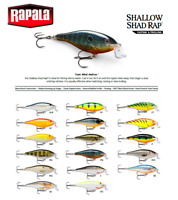 Rapala Shallow Shad Rap® Fishing Lure 5cm - 9cm  5g - 12g Various Sizes Colours