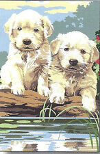 SALE! TWO LAB PUPPIES NEEDLEPOINT CANVAS FROM SEG #928.282
