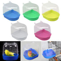 Hot Bird Water Bath Tub For Pet Bird Cage Hanging Bowl Parrots Parakeet Birdbath