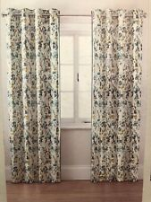 "Next Curtains Eyelet Floral Printed Edge Trim Teal Watercolour Blossom 53"" x 90"""