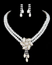 Double Rows Flower Pearl and Rhinestone Necklace Earrings Bridal Jewelry Set
