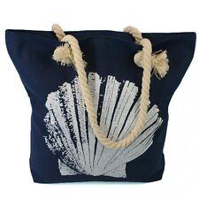 Large Shell Beach Bag Navy Zip Fastener Rope Handles Holiday Travel Seaside