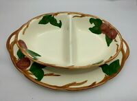 "Vintage Franciscan Ware Apple 14"" Serving Platter & Divided Vegetable Dish Bowl"
