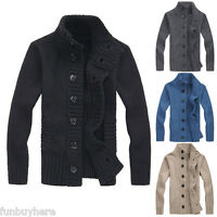 Mens Casual Cardigan Thick Warm Knitwear Winter Sweater Knitted Jumper Jacket