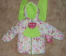 Pink Platinum Multi Color Peace Sign Hooded Puffer Jacket Scarf Hat Size 4 NWT