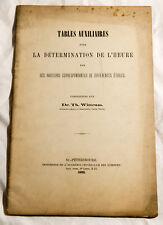 RARE TABLES AUXILIAIRES POUR LA DETERMINATION DE L'HEURE - DR WITTRAM 1892