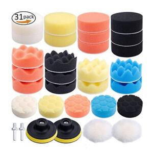 "31pcs 3"" Buffing Waxing Polishing Sponge Pads Kit Set For Car Polisher Drill AU"