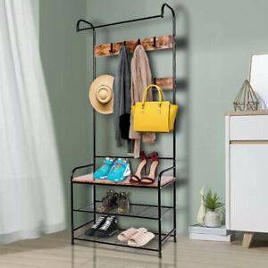 HOMCON Shoe Bench Industrial Coat Rack Stand 8 Hooks Hangers Storage Cabinet