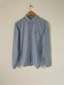 Lacoste Blue Long Sleeve Shirt Button Down Collar Regular Size 41 Medium/Large