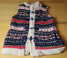 LADIES Size S CARDIGAN GILET BODY WARMER KNIT AZTEC NORDIC Fleece Toggle Fasten