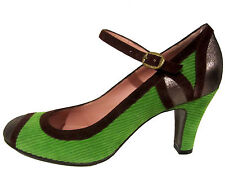 Marc by Marc Jacobs green heels 9.5 US 39.5 EU corduroy cap toe shoes NEW $375