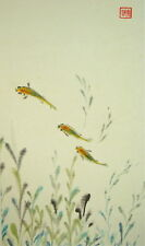 CHINESE PAINTING- FISH & AQUATIC PLANT- HAND PAINTED - 1 SEAL OF THE ARTIST.