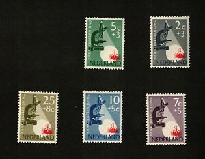 Netherlands 1955 Lot of 5 Semi-Postal Stamps, MNH OG, Sc# B281-B285