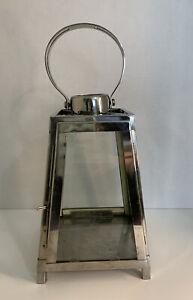 Hurricane Lantern Polished Silver-tone Glass Display Candle Holder Pottery Barn