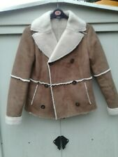 Ladies Tan M & S Collection Shearling Jacket Size 10