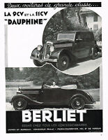 1930s BIG Vintage 1935 Berliet Dauphine Car Automobile Art Deco Photo Print Ad