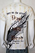 New With Tags Smet By Christian Audigier Men White Wheel Of Death  T-shirt  L