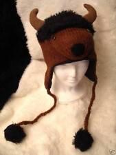 Buffalo Hat knit bison bull Flc Lined Minnesota vikings Adult costume buffaloes