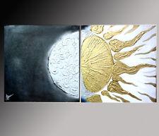 QUADRI MODERNI ASTRATTI DIPINTI A MANO OLIO SU TELA sole e luna abstract dipinto