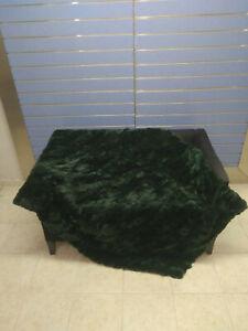 Natural Dark Green Rex Rabbit Fur Throw 100% Real Rex Fur Bedspread / Blanket