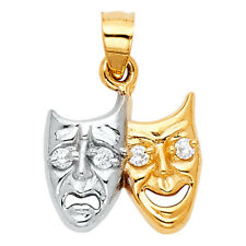 14K Solid Yellow Gold Two Tone Diamond Two Face Happy Sad Charm Pendant