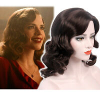 Finger Wave Wigs Women 1920s 50s Mid Brown Cosplay Costume Curly Synthetic Hair