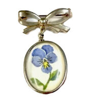 Vintage Silver Bow Hanging Drop Hand Painted Blue Viola Brooch Pin GIFT BOXED