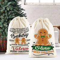 Christmas Santa Sack Gift Bag | Gingerbread Man Bakery | Personalised