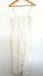 MINKPINK Ladies Designer White/Black Pinstripe Sleeveless Jumpsuit size L NWT