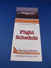 BEARSKIN AIRLINE SYSTEM TIMETABLE FLIGHT SCHEDULE JANUARY 1993 TRAVEL ADVERTISE