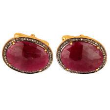 Ruby Gemstone Diamond Cufflinks 925 Silver Mens Fashion Accessories Jewelry