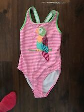 Flapdoodles Pink/White/Green Swimsuit with Parrot Design in Girls Size 12