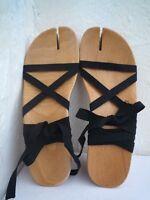 MAISON MARTIN MARGIELA  'Tabi' wood sandals Size 38