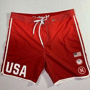 Hurley Mens phantom Swim Trunks Size 36 US Olympic Team Red White