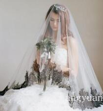 Black Lace Edge Cathedral 3M Wedding Veils White Ivory Bridal Veil Without Comb