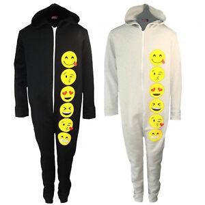 Boys Emoji Smiley Face All In One One1sie 1 Piece Jumpsuit Pyjamas PJ 7-13 Years