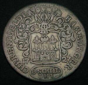 HAMBURG (German City) 8 Schilling (1/2 Mark) 1727 IHL - Silver - 1910