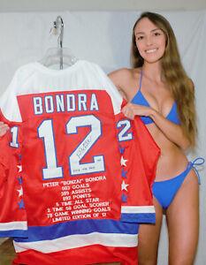 Peter Bondra Autographed Stat Jersey w Rock The Red Insc Washington Capitals LE