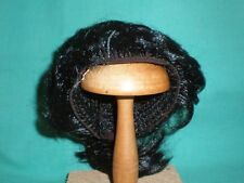 """doll wig black 8.5"""" to 9"""" short with ponytail/1930s/Especo/Germany"""