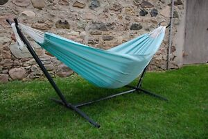 Double Polyester Hammock with Metal Stand 275cm Light Aqua Sky Blue