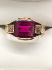 Vintage Art Deco 10k Yellow Gold Ruby Red Stone Ring Size 9.5