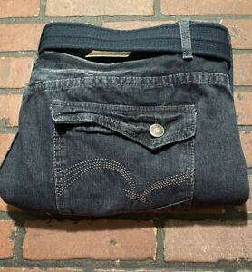Brooklyn Xpress Dirty Dark Belted Jeans Men's Size 46 x 33