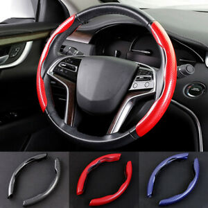 2PC 15inch Car Steering Wheel Cover Red Carbon Fiber Steering Cover Anti-skid