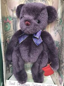 1996 Gund Yulebeary Christmas Collection Holiday Bear Purple Boxed w/ Tags