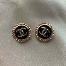 Set of 2 Chanel Buttons 20mm, Black Enamel, Stamped